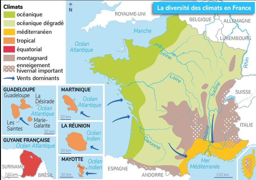 différents climats France