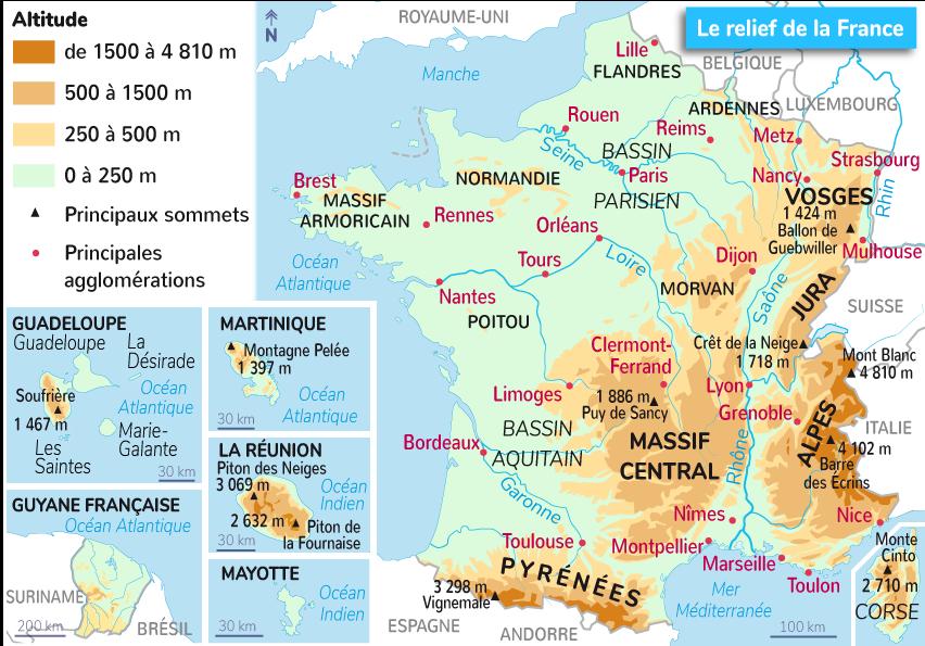 reliefs France métropolitaine outre-mer