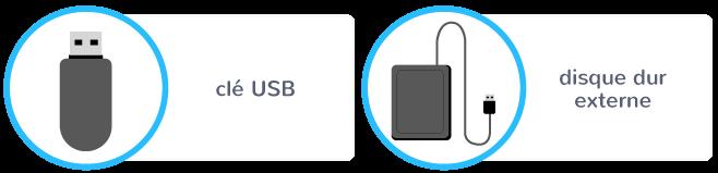 stockage données clé USB disque dur externe