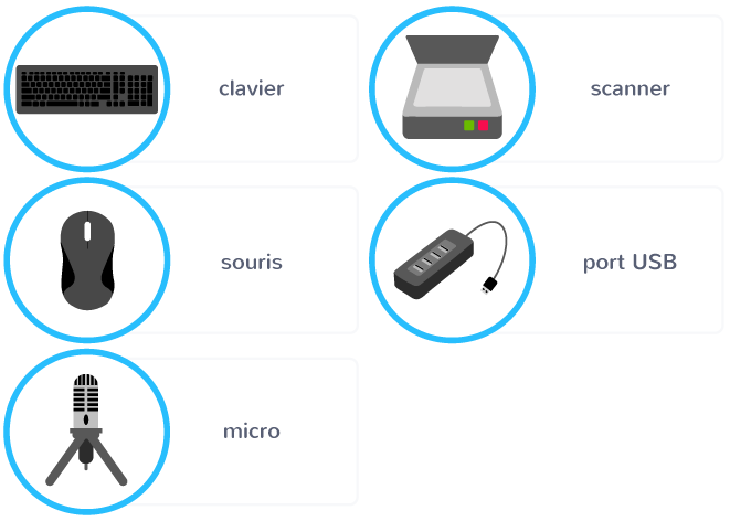 périphériques entrée clavier souris micro scanner port USB