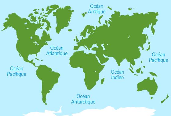 5 cinq océans planète Terre grande étendue eau salée