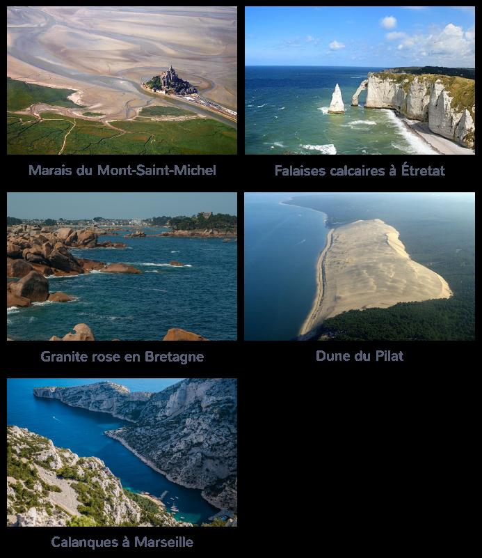 littoraux français marais falaises granite dunes calanques