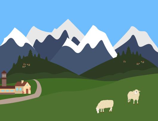 paysage montagnard vallées montagnes sommets