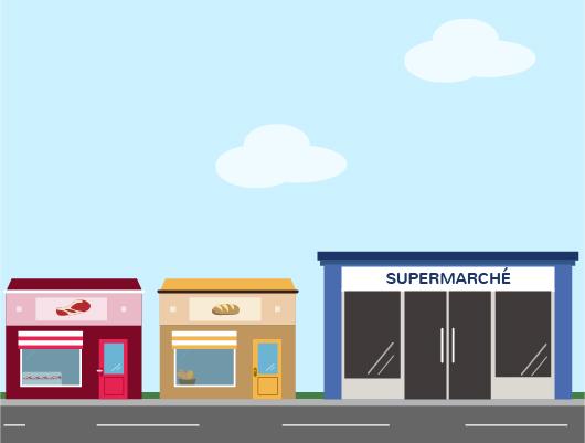 magasins commerces proximité grandes surfaces