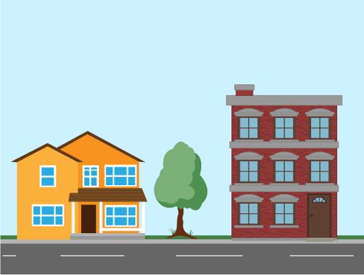 organisation ville immeubles maisons individuelles