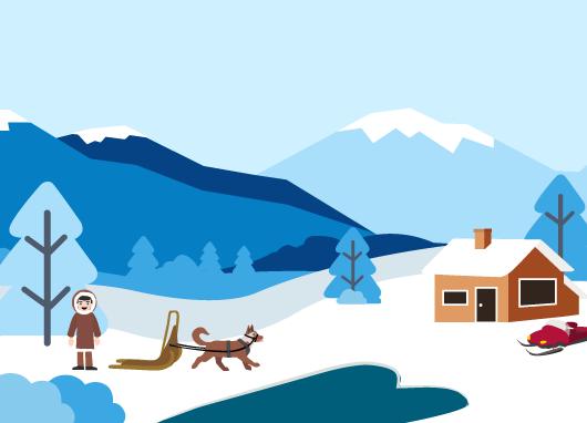 vivre désert froid Inuits igloos maisons traditionnelles chasse pêche traîneaux chiens
