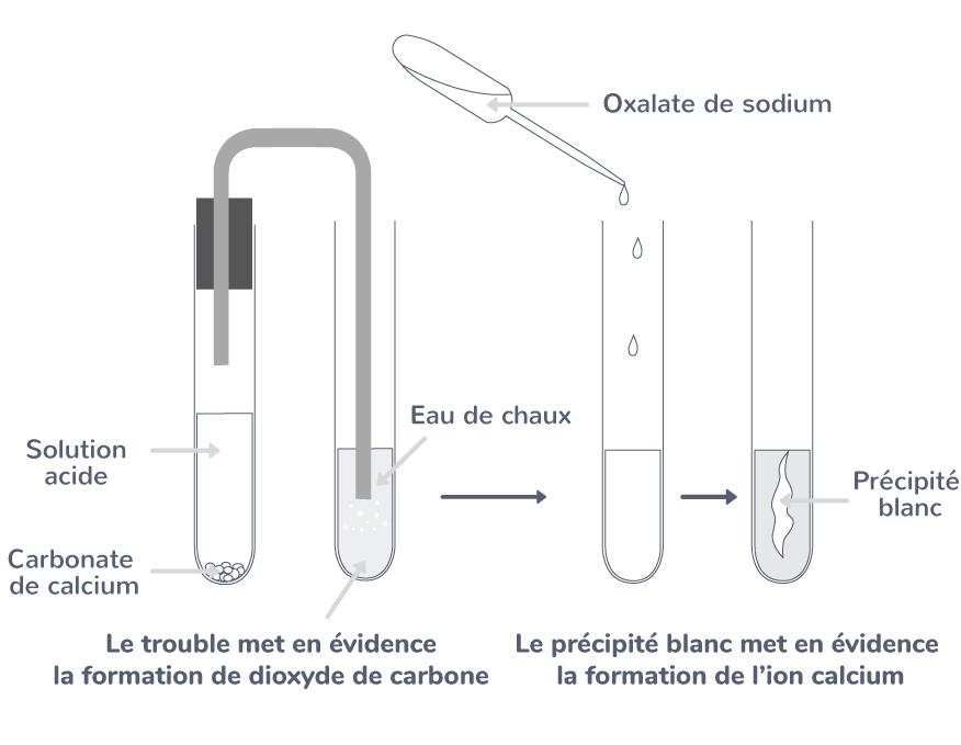 réaction solution acide calcaire