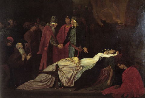 The Reconciliation of the Montagues and Capulets over the Dead Bodies of Romeo and Juliet, Frederick, Leighton, 1855