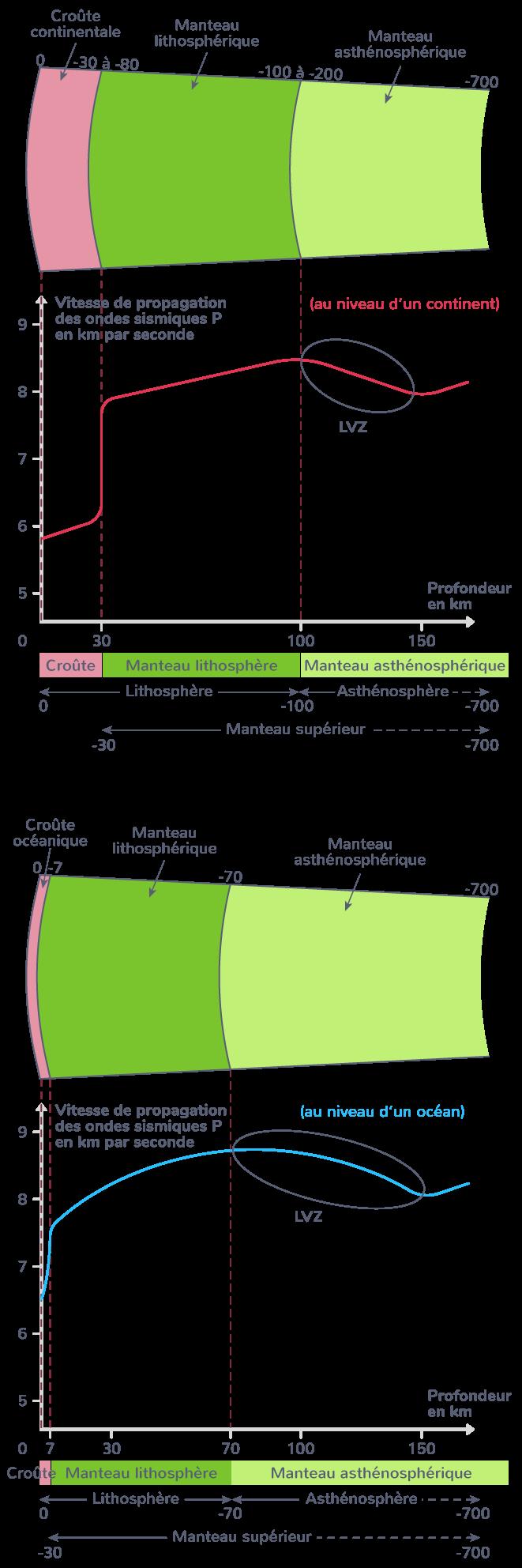 distinction lithosphère continentale lithosphère océanique