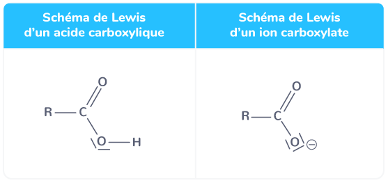 schémas de lewis d'un acide carboxylique et d'un ion carboxylate