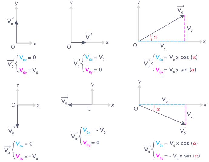 composantes vecteur vitesse initiale selon orientation repère