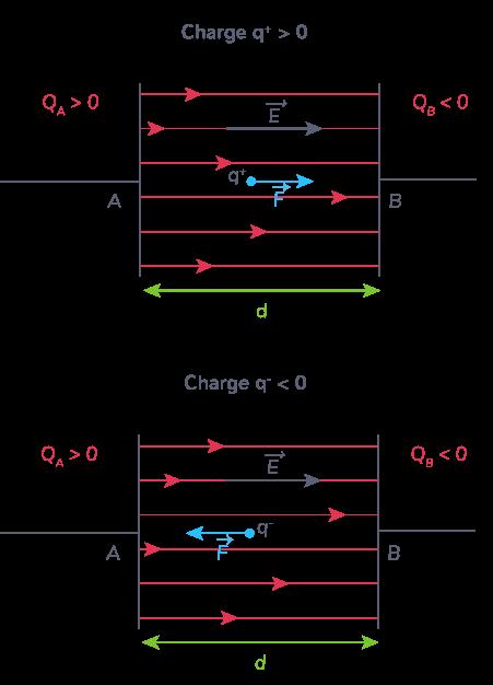 orientation force dépend signe charge électrique portée par chaque particule