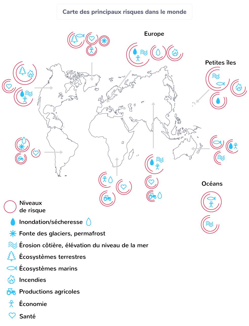 Carte des principaux risques dans le monde