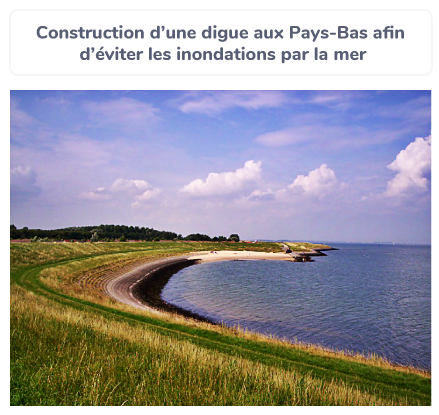 Construction d'une digue au Pays-Bas afin d'éviter les inondations par la mer