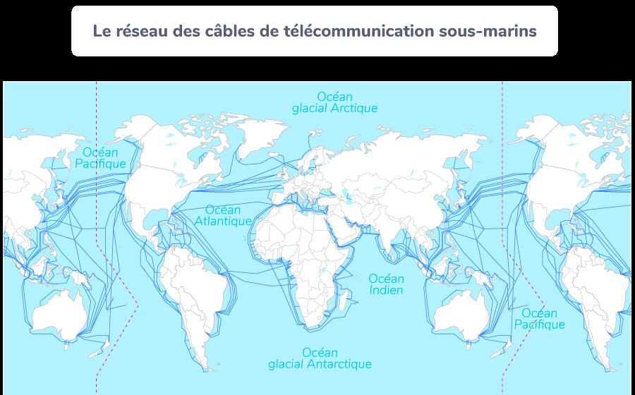 Le réseau des câbles de télécommunication sous-marins