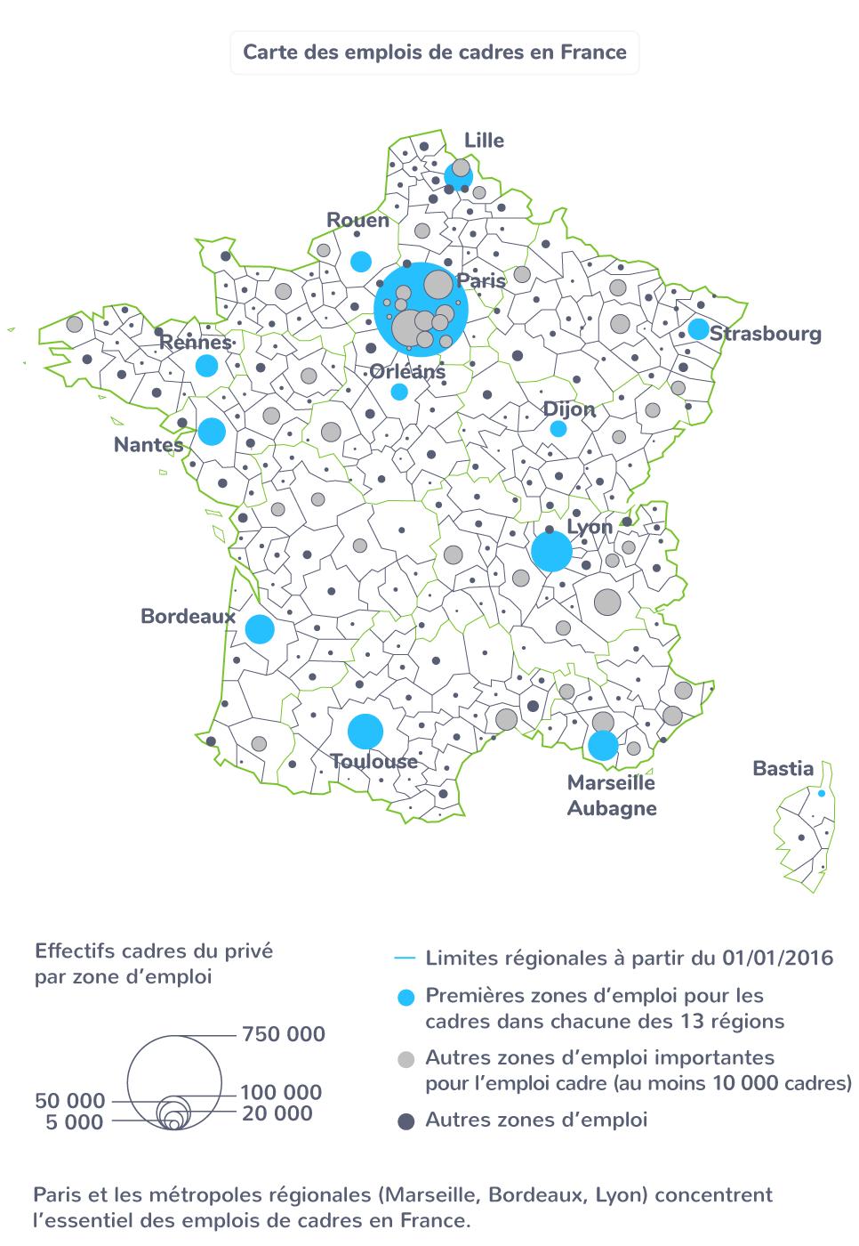 carte emplois cadre France travail