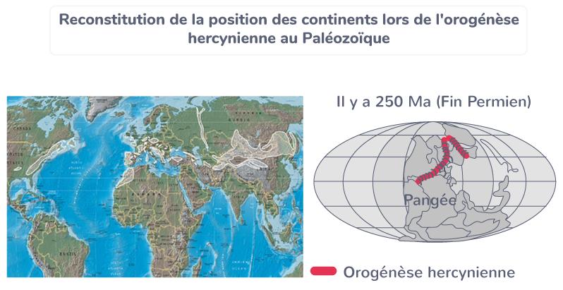 Reconstitution de la position des continents lors de l'orogenèse hercynienne au Paléozoïque