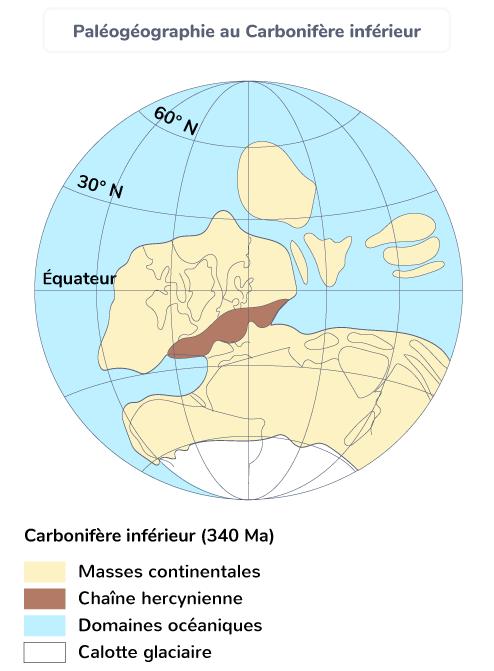Paléogéographie au Carbonifère inférieur