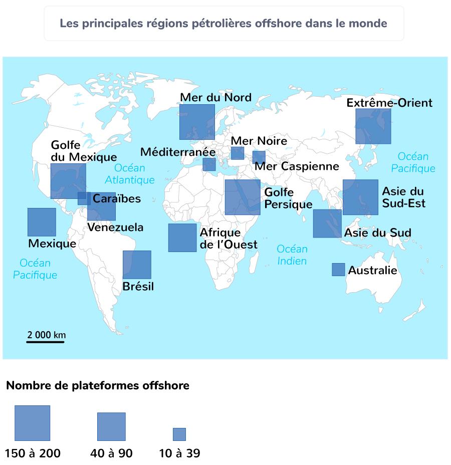 Les principales régions pétrolières offshore dans le monde