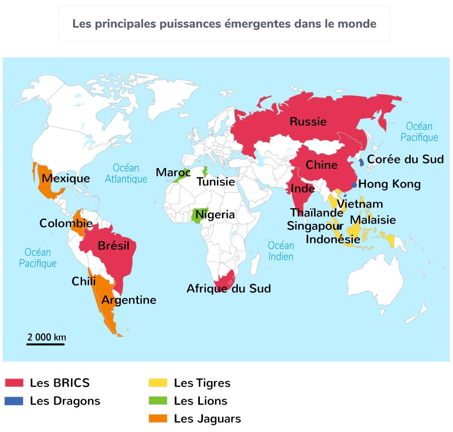 Les principales puissances émergentes dans le monde