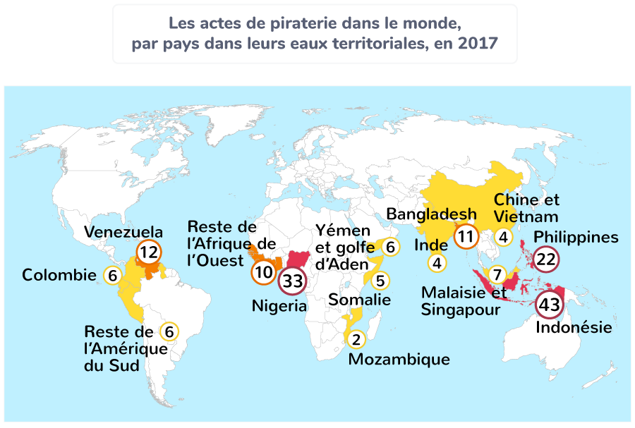 Les actes de piraterie dans le monde, par pays dans leurs eaux territoriales, en 2017