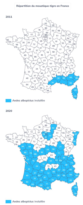 Répartition du moustique tigre en France