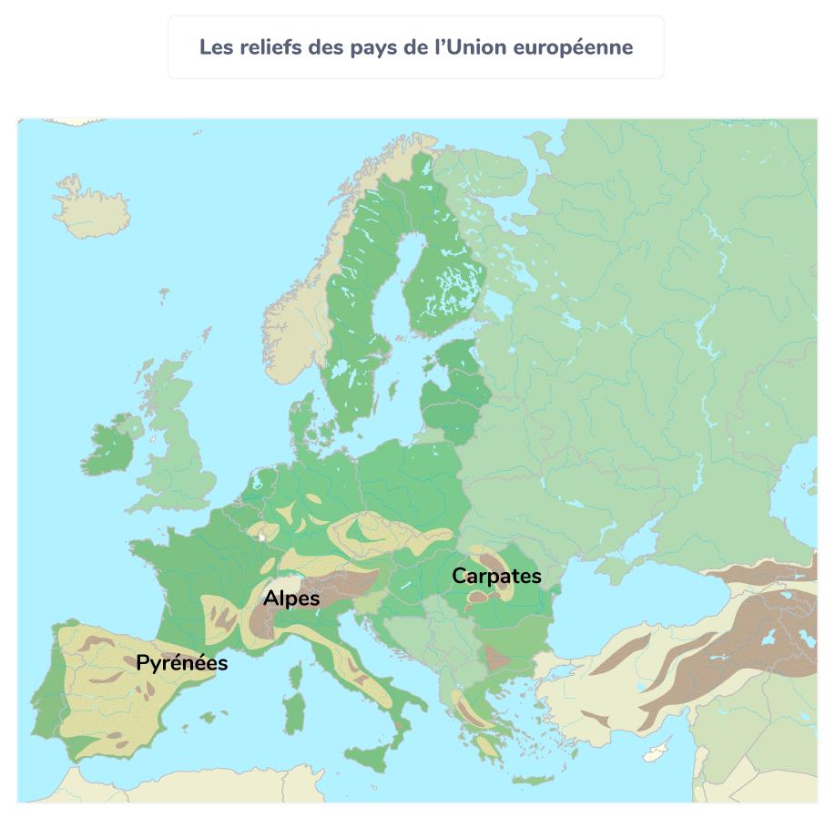 pays carte reliefs union européenne