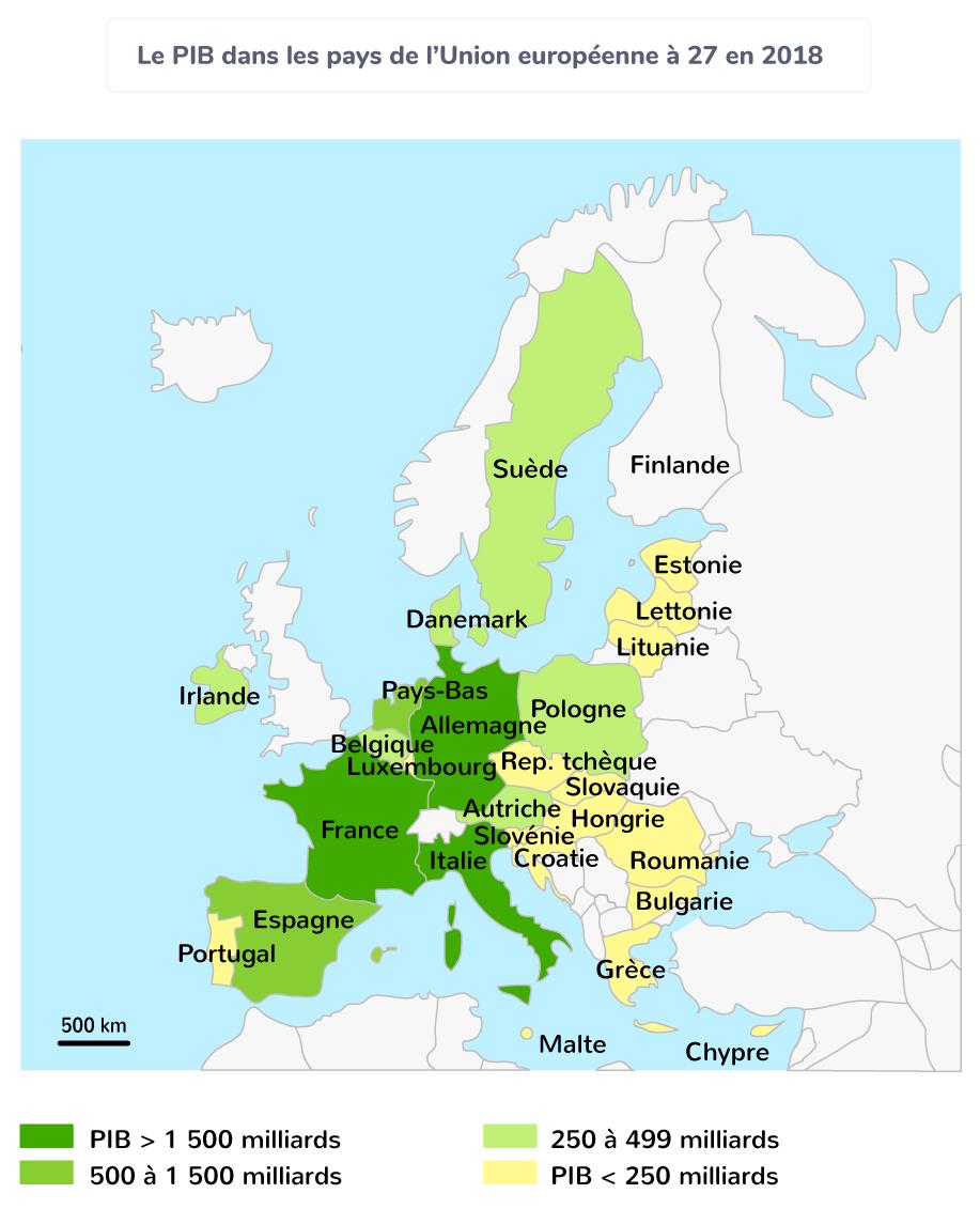 Le PIB dans les pays de l'Union européenne à 27 en 2018