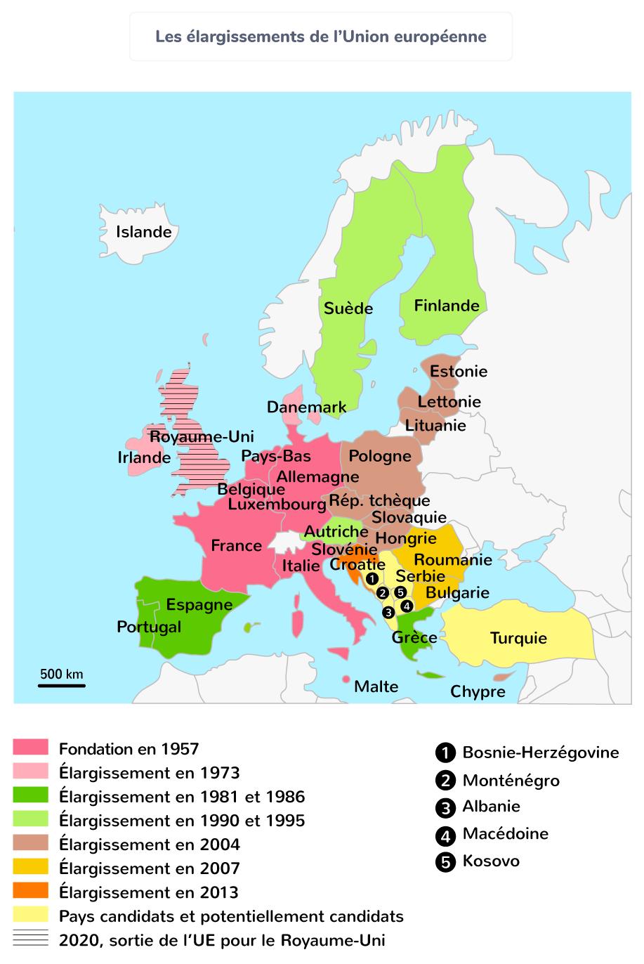 carte union européenne pays élargissement