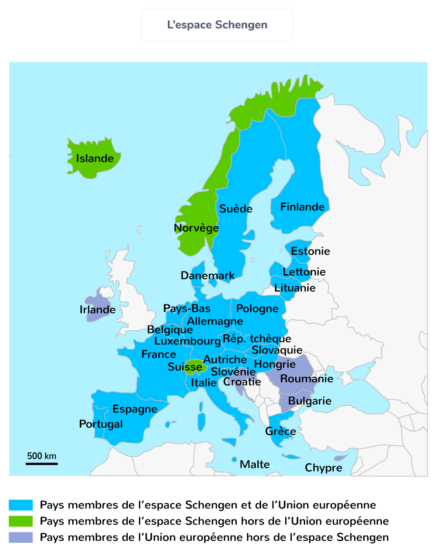 union européenne carte espace schengen