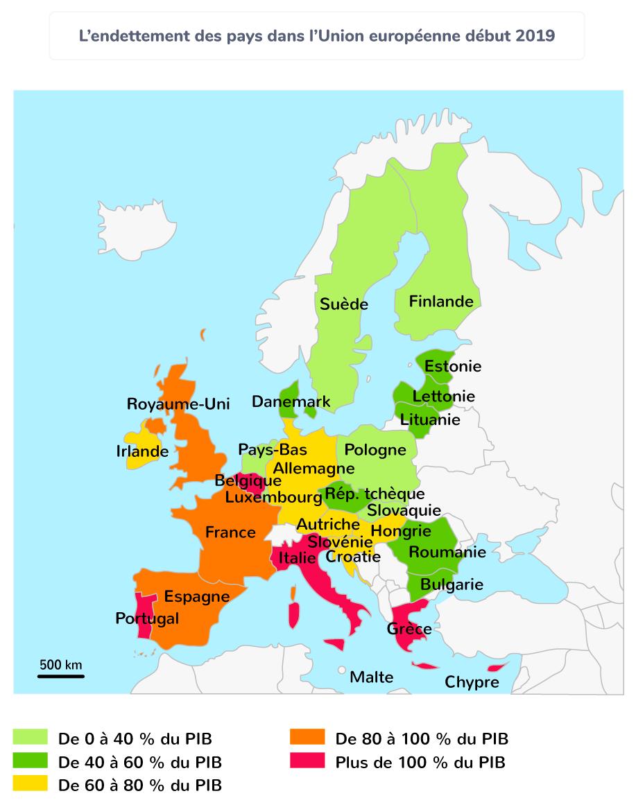 carte union européenne pays endettés