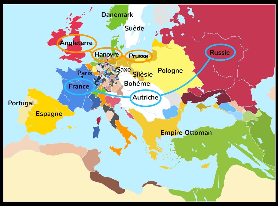 la guerre de Sept Ans, guerre interétatique puis guerre mondiale