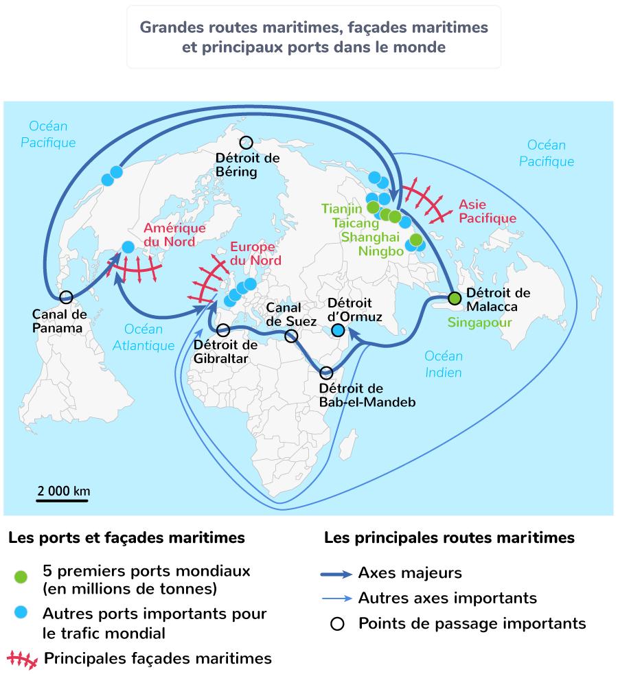 Grandes routes maritimes, façades maritimes et principaux ports dans le monde