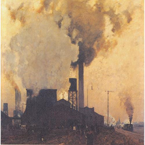 Aciérie Hoesch(à Dortmund, dans la région industrielle allemande de la Ruhr) en 1907 par le peintre Eugen Bracht (1842−1921)