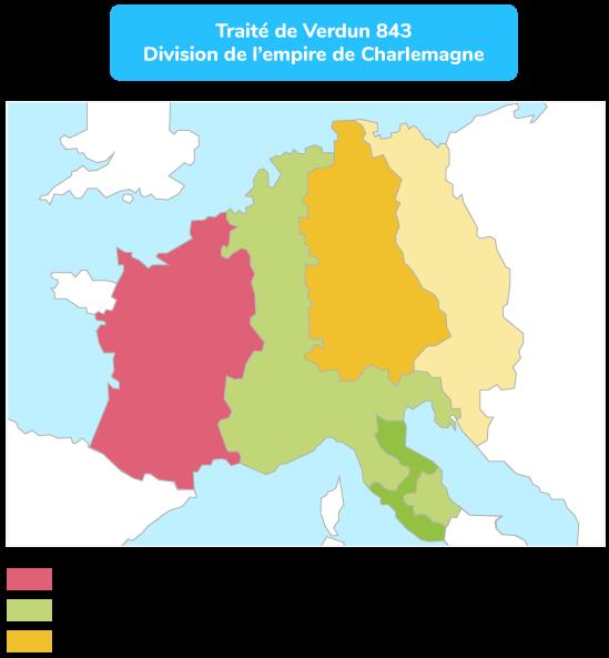 L'empire de Charlemagne partagé entre ses fils