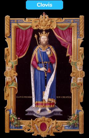 Représentation de Clovis en roi de guerre