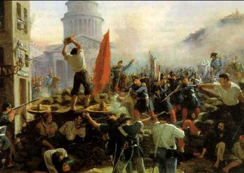 Barricade dans la rue Soufflot à Paris le 25 juin 1848