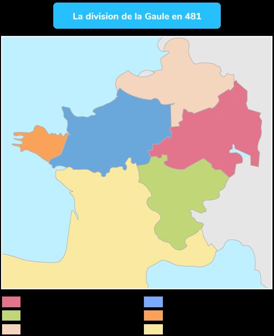 Les différents royaumes en Gaule en 481