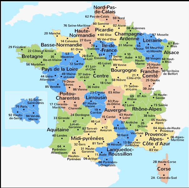 Les départements de France métropolitaine