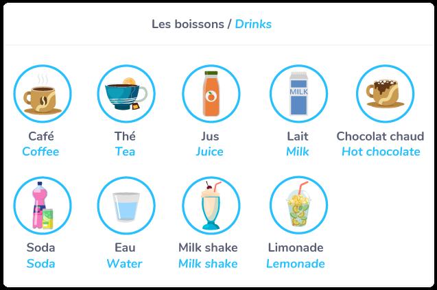 Drinks = les boissons