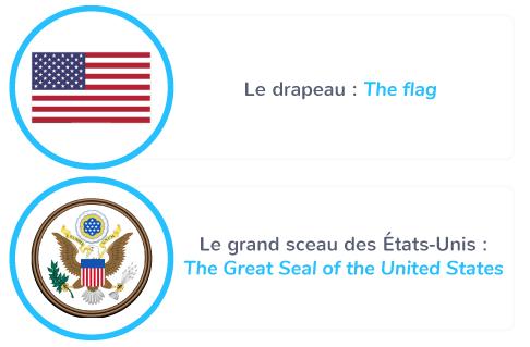 Flag and symbol of the United States of America =Drapeau et symbole des États-Unis d'Amérique